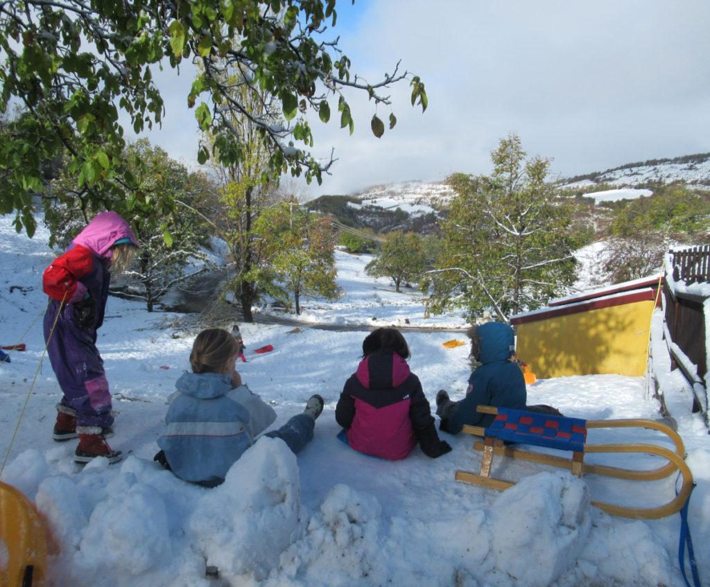 Ecole d'Eourres - Glissages sur la neige
